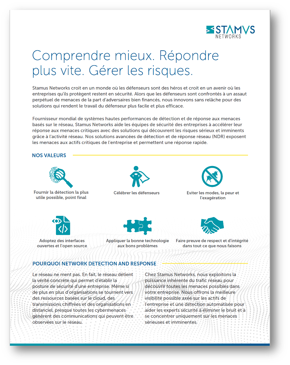 Stamus Corp Overview French Thumb